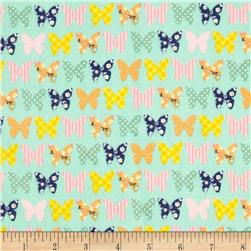 Riley Blake A Beautiful Thing Flannel Butterfly Blue