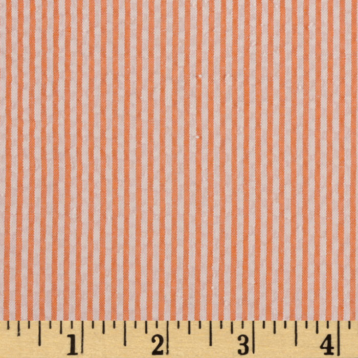 Kaufman Classic Seersucker Stripes Orange/White Fabric
