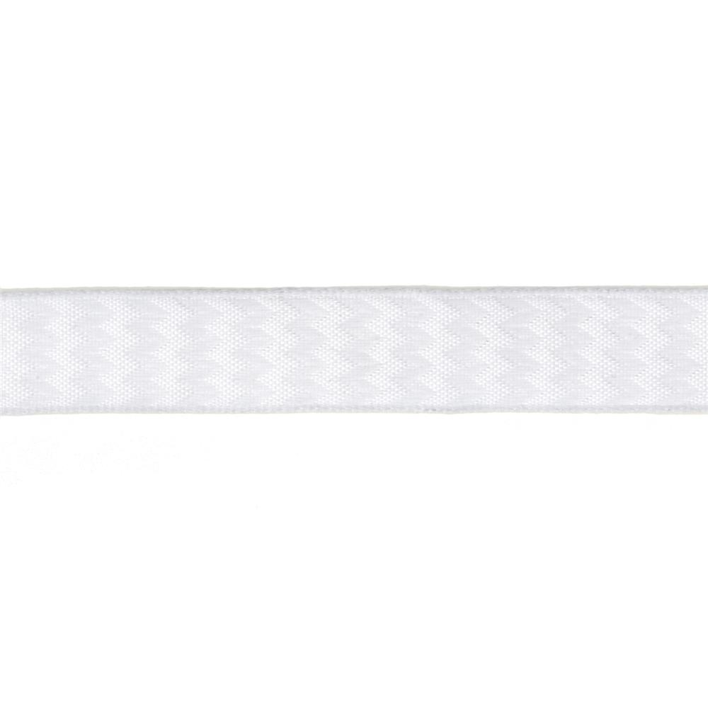 "5/8"" Chevron Stripe Wired Ribbon White"