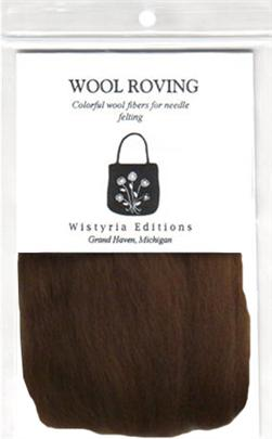 "100% Wool Roving 12"" Package .2 Ounces Chocolate"