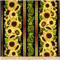 Sunflowers Border Stripe Black
