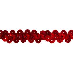 3/8'' Hologram Stretch Sequin Trim Red