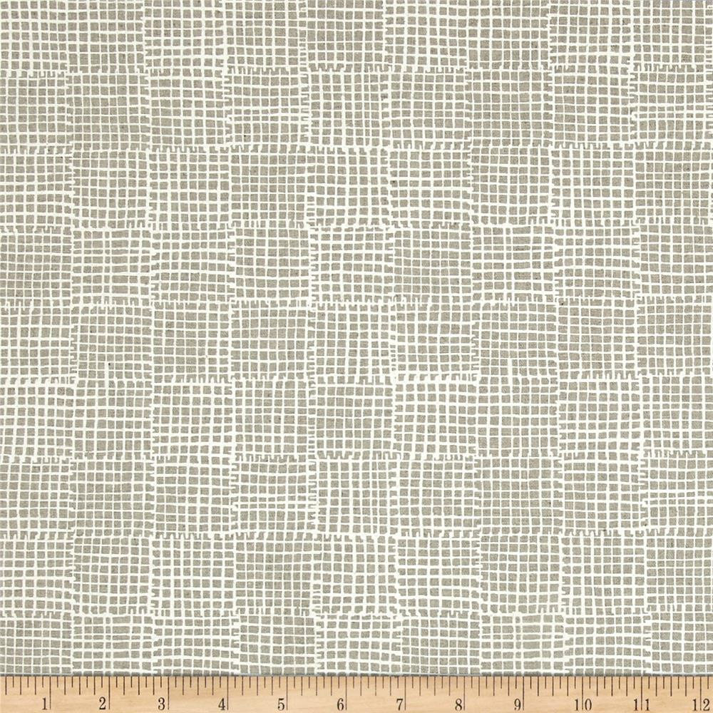 Maker Maker Linen Blend Grid Natural Fabric