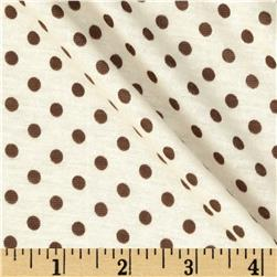Soft Jersey Knit Dots Brown/Ivory