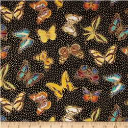 Patty Reed Butterflies Black/Yellow/Orange/Blue Fabric