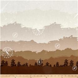 Riley Blake Jeep Double Border Print Brown