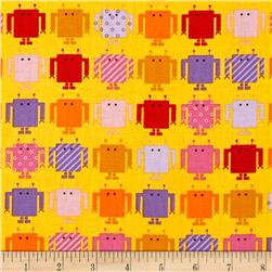 Funbots Small Robots Spring Yellow Fabric