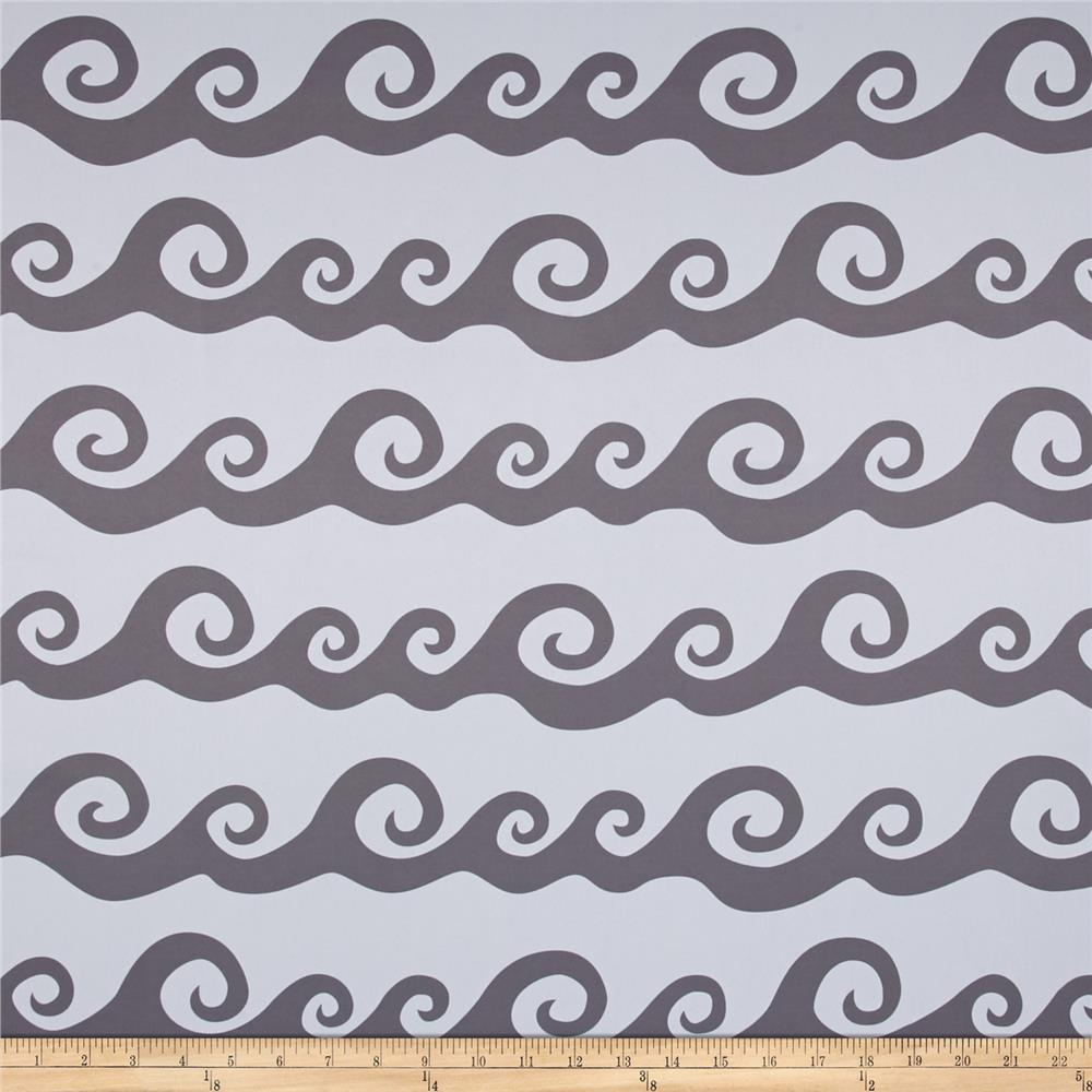 RCA Blackout Drapery Fabric Nautical Waves Grey