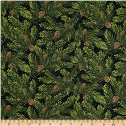 Moda Rejoice Pine Boughs Black
