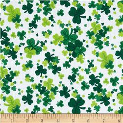 Kiss Me I'm Irish Shamrock Clusters White