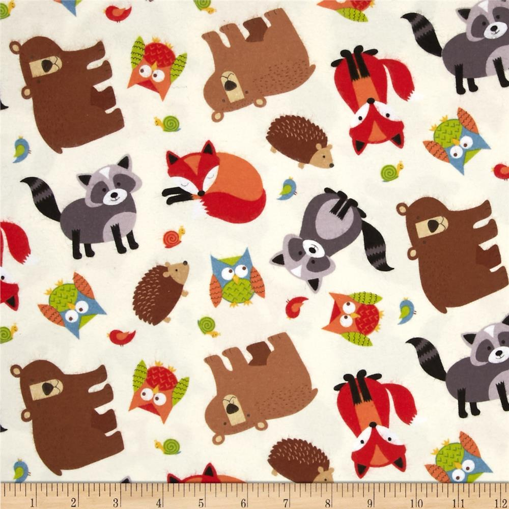 Lumberjack Flannel Tossed Woodland Friends Yellow