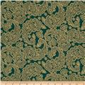 Traditional Poinsettia Metallic Paisley Green