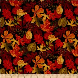 Autumn Abundance Leaves Black