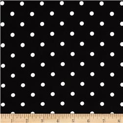 Stretch Poplin Dots Black/Ghost White