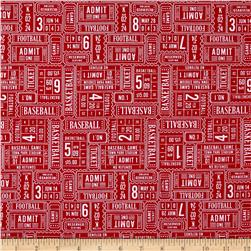 Riley Blake Play Ball Ticket Red Fabric