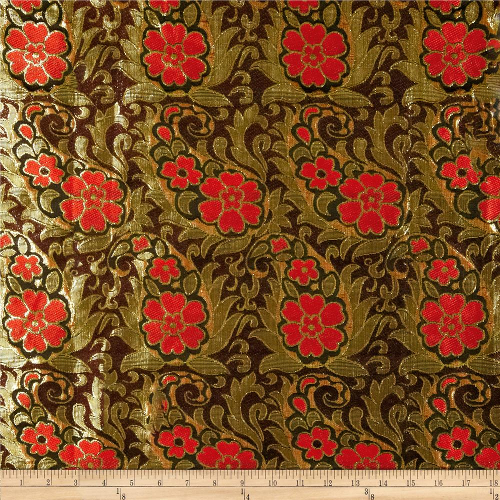 Metallic Brocade Floral Black/Gold/Red