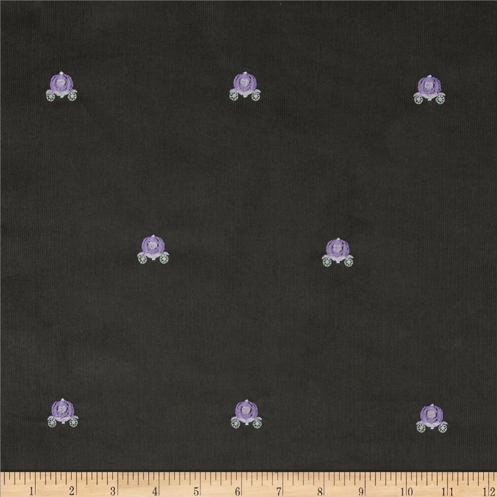 Embroidered 21 Wale Corduroy Carriage Graphite/Purple
