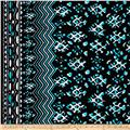 Peachskin Chevron Double Border Black/Aqua/White