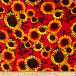 Rayon Challis Dreamer Sunflowers on Red