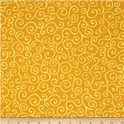 Christmas Pure & Simple Scrolls Gold Fabric