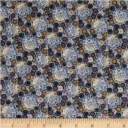 Downton Abbey II Rose Buttons Blue