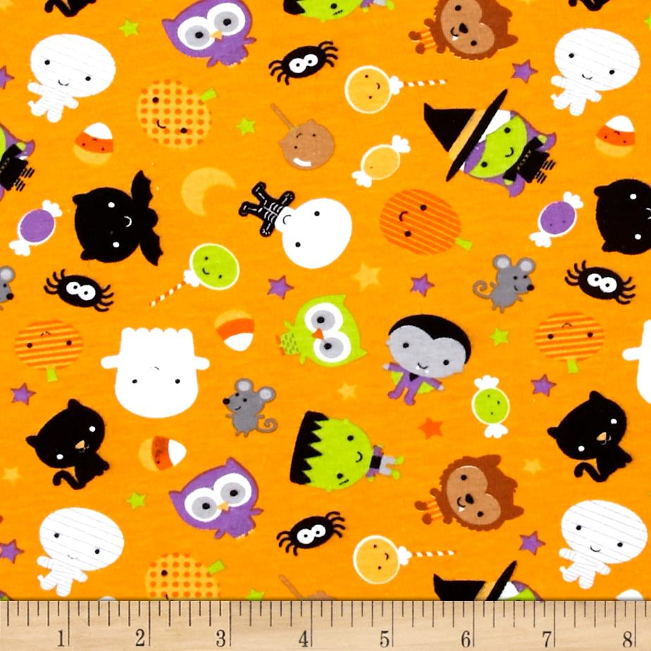 Riley Blake Cotton Jersey Knit Ghouls Main Orange Fabric By The Yard