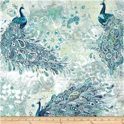 Paisley Peacock Metallic Peacocks Gardenia/Silver