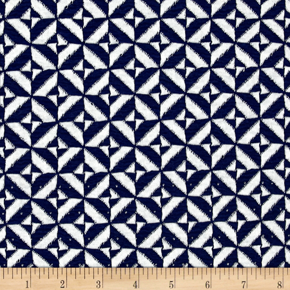 Ace Jacquard Knit Tile Blue/White Fabric