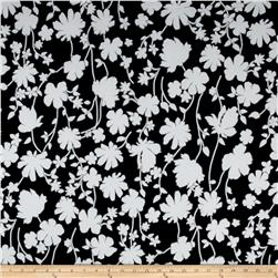 Summer Floral Stretch ITY Black/White