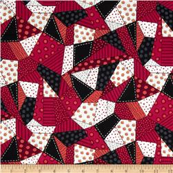 Snow Daze Crazy Quilt Patch Red
