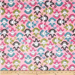 Minky Cuddle Urban Zoologie Monkey Fuchsia Fabric