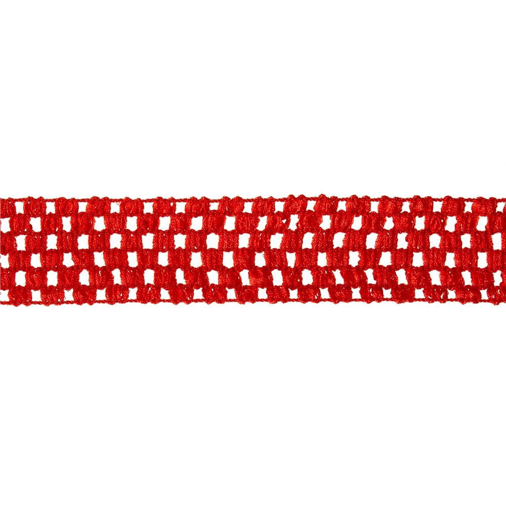 "1 3/4"" Crochet Headband Trim Red"