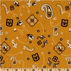 Collegiate Cotton Broadcloth University of Missouri Bandana Gold