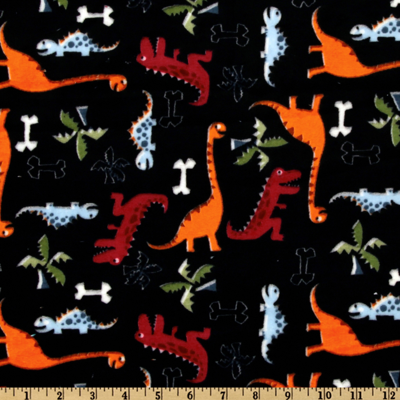 Minky Cuddle Dino Bone Black Fabric
