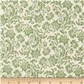 Love Notes Damask White/Green
