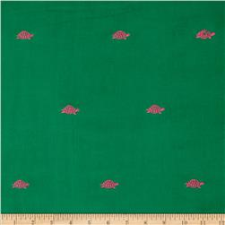 Embroidered 21 Wale Corduroy Turtle Green/Pink