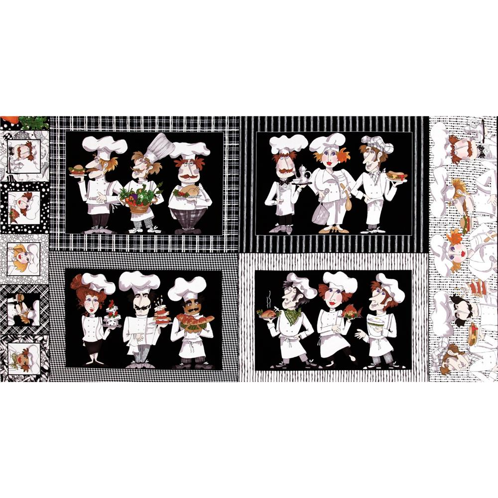 Loralie What's Cooking Placemat Panel Black/White