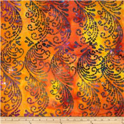 Indian Batiks Scroll Orange