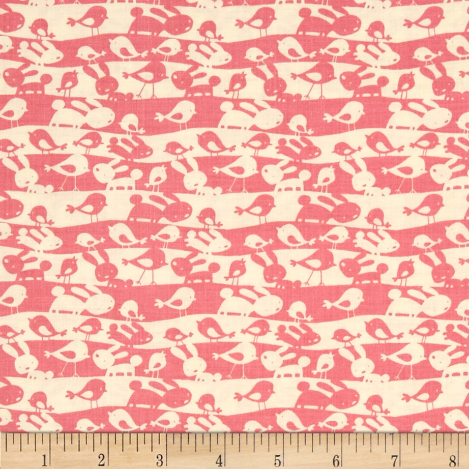 Garden Animal Stripe Pink Fabric