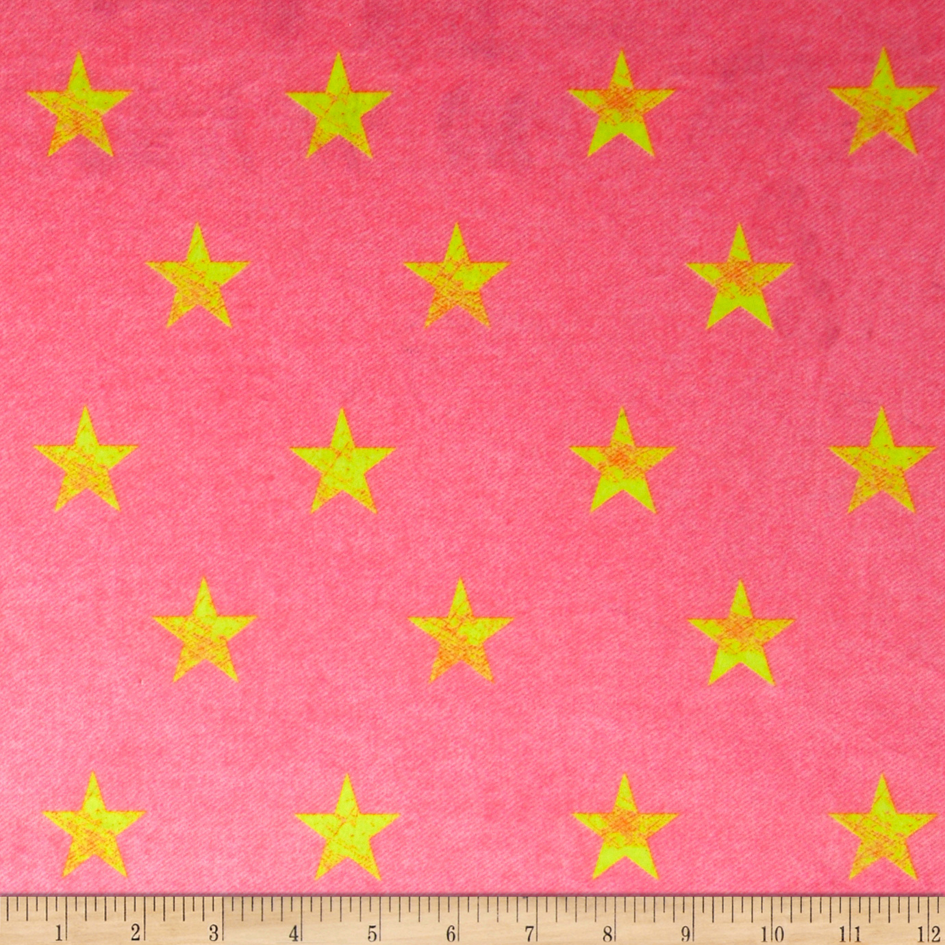 Minky Stars Pink Denim/Neon Yellow Fabric