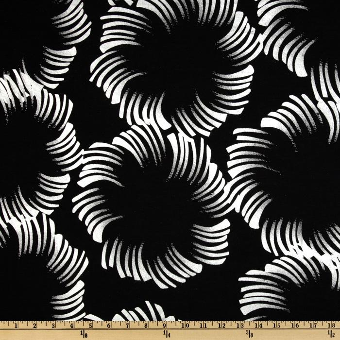 Cotton Lawn Palmetto Silver/Black