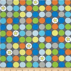 Alpine Flannel Blast Off Star Dots Gray Fabric