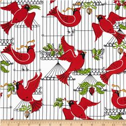 Michael Miller Holiday Birds Hollyberry Fabric