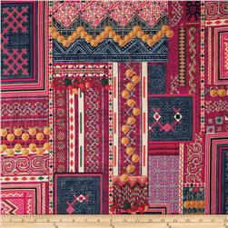Mandalay Metallic Woven Patchwork Pomegranate/Gold