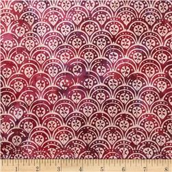 Bali Batiks Handpaints Scallops Raspberry