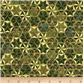 Robert Kaufman Winters Grandeur Metallic Honeycomb Grid Evergreen