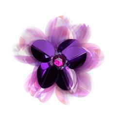 Vinyl Triple Layer Sequin Flower Applique Purple