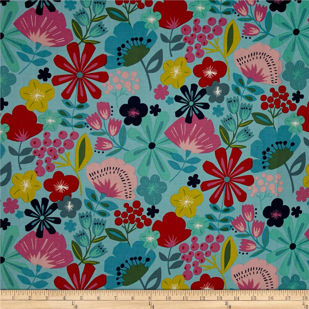 Alexander Henry Everyday Eden Pretty Poppy Linen Turquoise Fabric