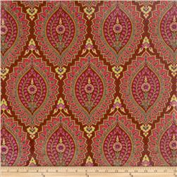 Amy Butler Alchemy Laminated Cotton Imperial Paisley Zinnia Burgundy
