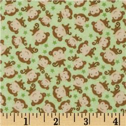 Riley Blake Snips & Snails Flannel Monkeys Green